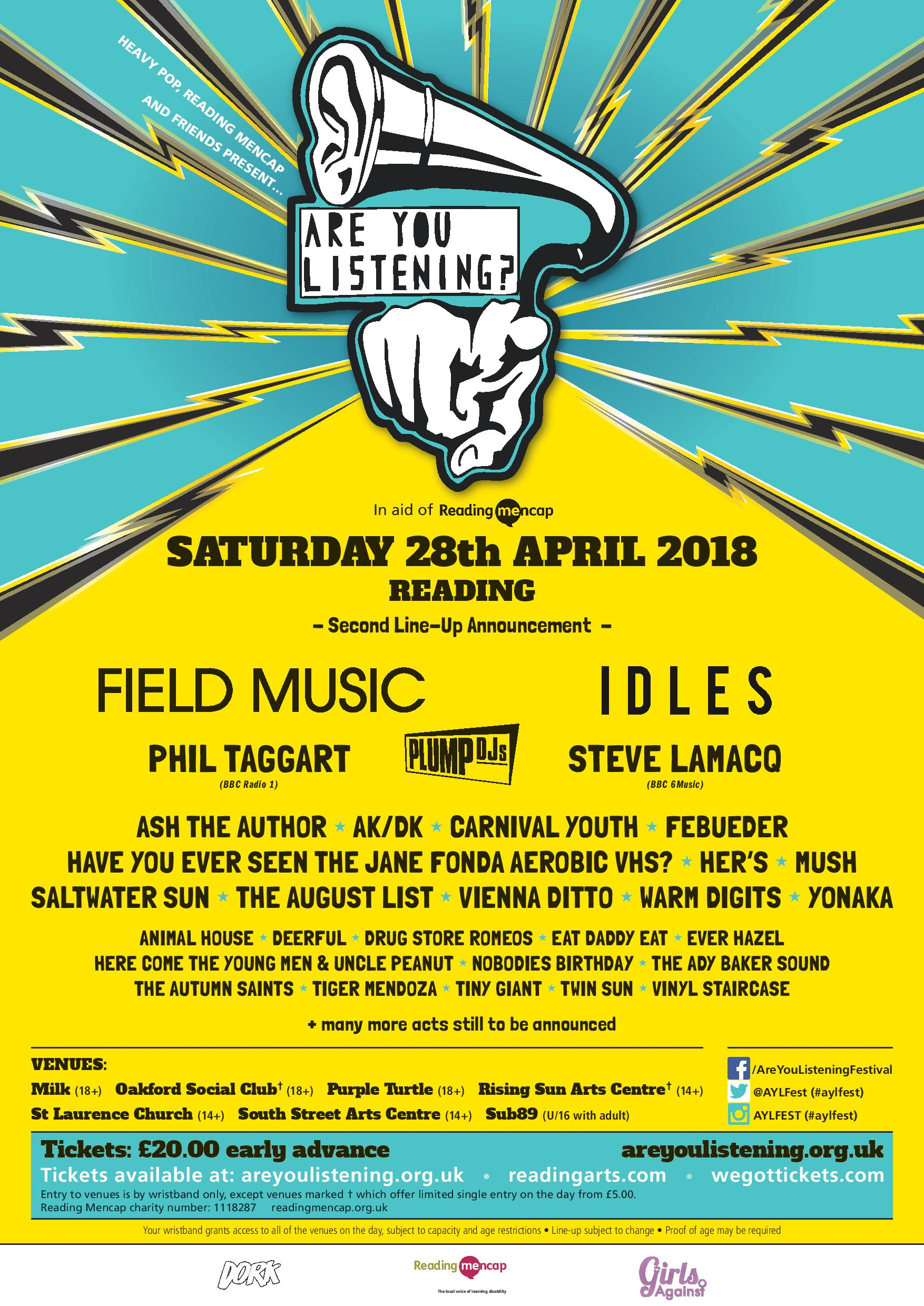 Reading's Are You Listening? Festival 2018 adds new bands including
